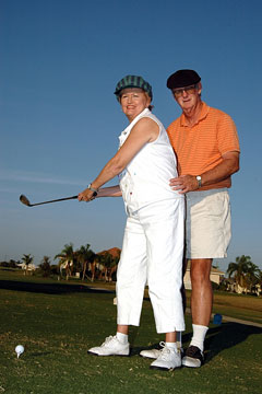 seniors playing golf on an active adult community golf course